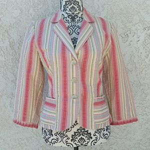 CAbi Striped Button Front Blazer Size 6